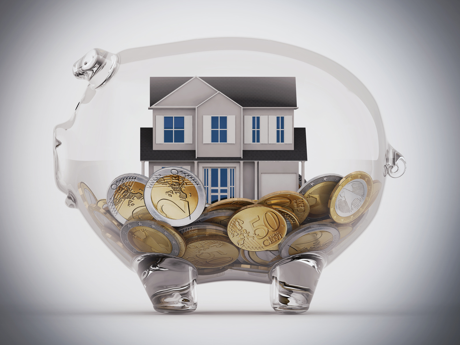 House and money in a piggybank transparent